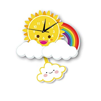 Fengfeng Reloj de Pared, Reloj de péndulo Infantil Relojes de Animales creativos para niños Columpio