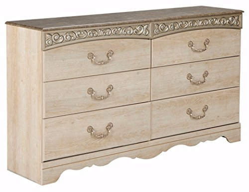 Ashley Furniture Signature Design - Catalina Dresser - 6 Drawers with Faux Marble Top - Antique White