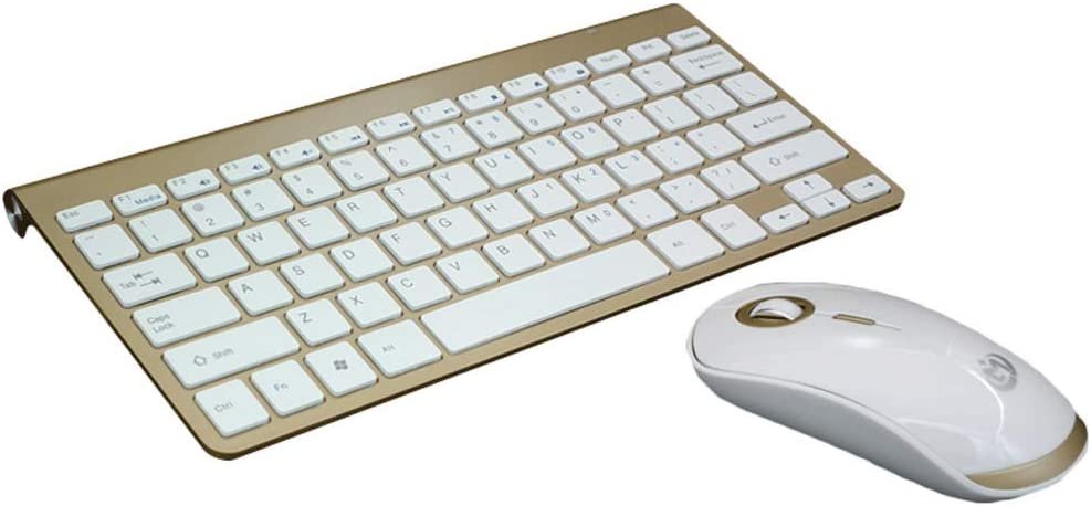 PCF Ultra-Thin Mini Laptop Wireless Keyboard and Mouse Set Home Computer Office Typing Game Chargeable Adapter Color : Gold Charging Version