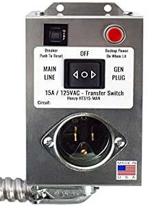 Arnberg Industries HTS15-MAN Generator Transfer Switch Powers Gas Furnace, Boiler or Pumps up to 1875 Watts 15 Amp One Circuit