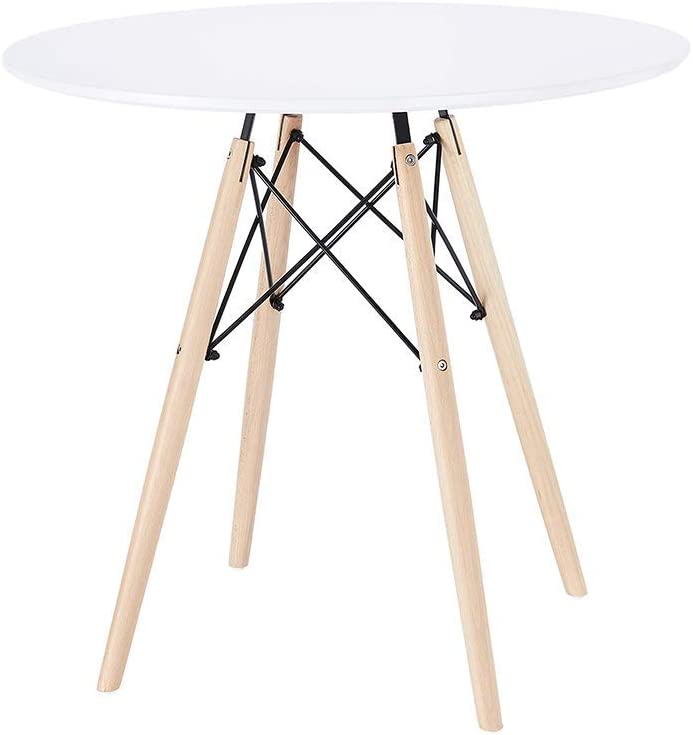 CangLong Modern Round Office Side Table in White with Beech Wood Legs for Kitchen Living Bedroom