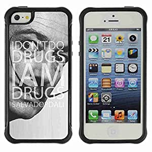 A-type Arte & diseño Anti-Slip Shockproof TPU Fundas Cover Cubre Case para Apple iPhone 5 / 5S ( Funny Drugs & Dali Quote )