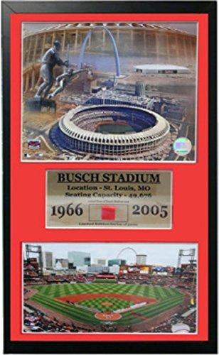 MLB St. Louis Cardinals 12x18 Framed Busch Stadium Print and Authentic Stadium (Busch Stadium Framed Photo)