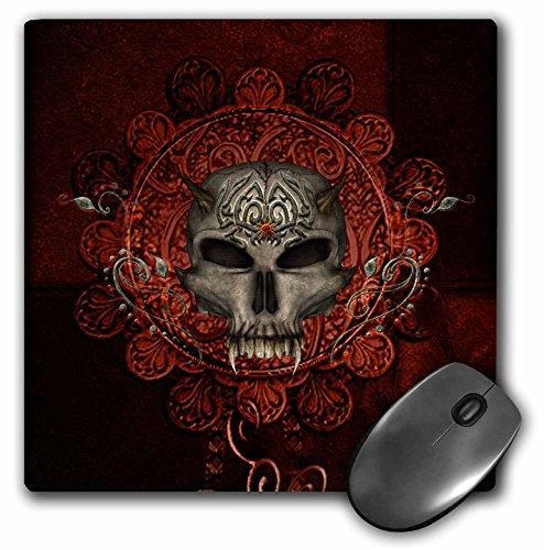3dRose Heike Köhnen Design Skull - Awesome skull with spider, tribal design - MousePad (mp_269627_1) (Spider Rest Head)