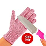 TruChef Kid Sized Cut Resistant Gloves for Meal Prep and Crafts Maximum EN388 Level 5 Protection From Kitchen and whittle Knives, Scissors, Vegetable Peelers, Mandolins, Pink, Small