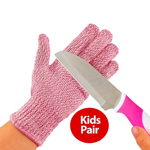 (TruChef Kid Sized Cut Resistant Gloves for Meal Prep and Crafts Maximum EN388 Level 5 Protection From Kitchen and whittle Knives, Scissors, Vegetable Peelers, Mandolins, Pink, Small)