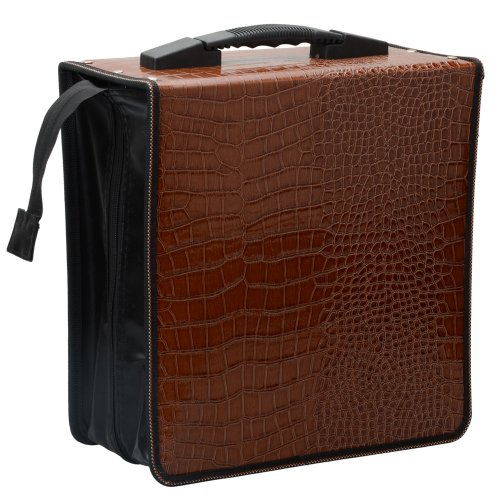 Leather CD/DVD Disc Storage Bag Portable 400 Capacity Wallet Organizer Bag for Car, Home, Office, Ddisco
