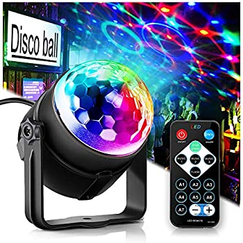 USB Powered Disco Ball Party Lights WOWTOU RGB LED Disco light Sound Activated Strobe Light with Remote Control for Home Parties Dance Floor Kids Birthday Wedding Show DJ Lighting