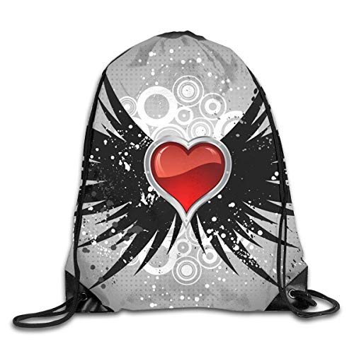 Glossy Heart On Wings Drawstring Bag for Traveling Or Shopping Casual Daypacks School Bags Backpack Gym (Foamies Heart)