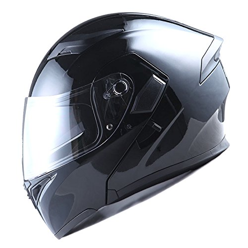 1Storm Adult Motorcycle Modular Full Face Helmet Flip up Dual Visor Sun Shield: HB89 Glossy Black