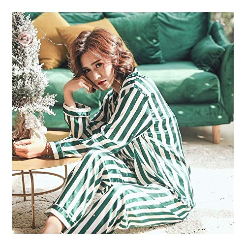 Pajama Long Spring Cotton Home nbsp; Buttoned Ladies HAOLIEQUAN Sleeve Notch nbsp;Striped Pink Women green Set Collar Clothing 8qIF5xX