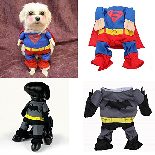 Funny Costume Jumpsuit Superman Batman Suit For Pet Cat Dog Puppy Clothes Outfit (Dog Batman)