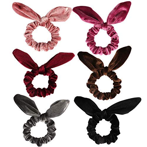 Ondder 6 Pack Velvet Scrunchies Hair Scrunchies Rabbit Bunny Ear Bow Bowknot Scrunchies Velvet Scrunchy Bobbles Elastic Hair Ties Bands Ponytail Holder, 6 -