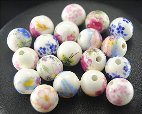 Pukido 20pcslot Mix Color Random delivery Hand Painted Plant Flowers Beads Porcelain Beads for Fits Jewelry Making