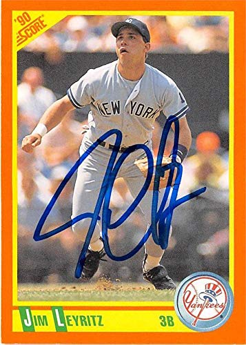 1990 Score Autographed Card - Jim Leyritz autographed baseball card (New York Yankees) 1990 Score #83T Rookie - Baseball Slabbed Autographed Cards
