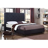 Home Life Premiere Classics Cloth Black Linen 51' Tall Headboard Platform Bed with Slats Queen - Complete Bed 5 Year Warranty Included 007