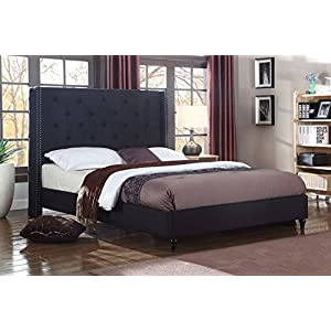 Home Life Premiere Classics Cloth Black Linen 51″ Tall Headboard Platform Bed with Slats – Complete Bed 5 Year Warranty Included 007