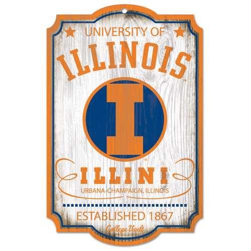 Illinois Fighting Illini Vault Fan Cave Wood Sign
