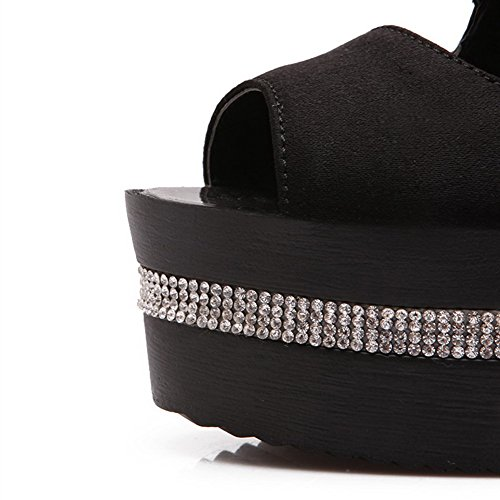 Donna Alti Neri Toe Tacchi Solid Allhqfashion Peep Sandali Pu Zipper 45nFRq