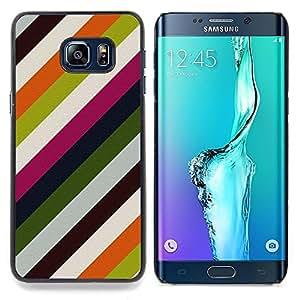 """For Samsung Galaxy S6 Edge Plus / S6 Edge+ G928 Case , Líneas modernas Wallpaper Verde Blanco"""" - Diseño Patrón Teléfono Caso Cubierta Case Bumper Duro Protección Case Cover Funda"""