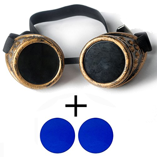 New Sell Vintage Steampunk Goggles Glasses Welding Cyber Punk Gothic with 2 Blue - Sunglasses Welding Goggle