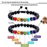 Hamoery Men Women 8mm Lava Rock 7 Chakras Essential Oil Diffuser Bracelet Braided Rope Natural Stone Yoga Beads Bracelet Bangle-21004