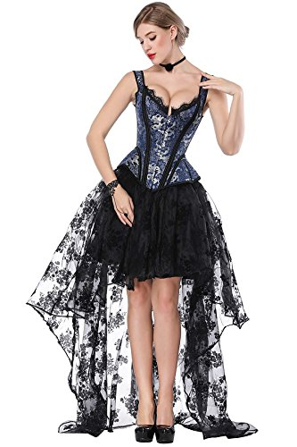 TOPMELON Women's Overbust Lace up Back Corset with Shoulder Sleeve Bust -