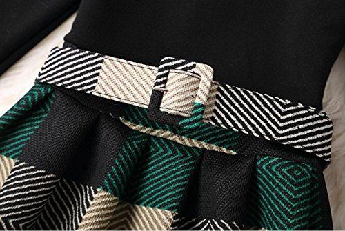 Warm Dress A Plaid With Flared Line Pattern1 Belt Waist Plus Coolred Velvet Women xqHSIS