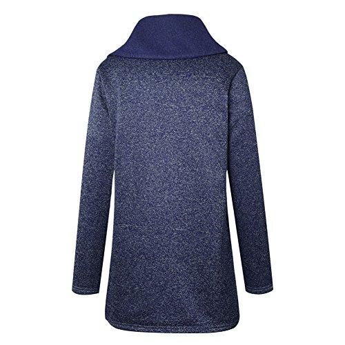 con Outwear invierno Mujeres Único Deylaying cuello Azul Casual sudadera más Coat Jacket alto tamaño cremallera largo bolsillos UwwxP7fq