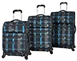 Lucas Luggage Ultra Lightweight 3 Piece Expandable Suitcase Set With Spinner Wheels (One Size, Old School Navy)