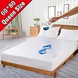 Airsspu Queen Premium Cotton Waterproof Mattress Protector - [100% Waterproof] - Mattress Pad Cover - [Breathable] - [Hypoallergenic] - [Anti Mite] - [Vinyl Free] - Queen Size