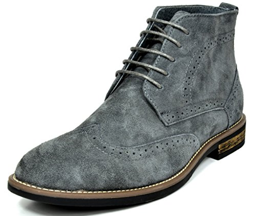 Bruno Marc Men's URBAN-02 Grey Suede Leather Lace Up Oxfords Desert Boots - 9 M US