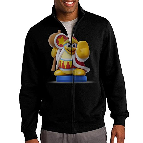 [Simoon King Dedede Amiibo Men's Solid Stand Collar Zipper Jacket Size XL] (Pi Day Costume Ideas)