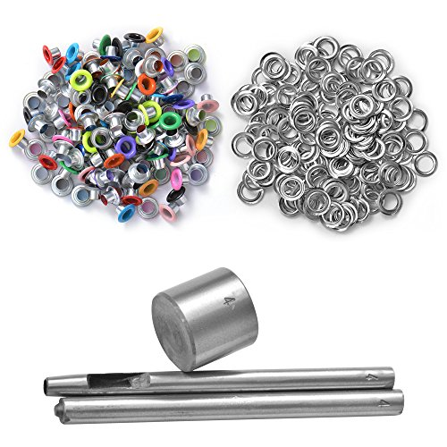 XCSOURCE 4mm Eyelet Punch Die Tool Set 100 Sets Eyelet Buckle w/ Washer for Leather Craft Clothing Grommet Banner CR005