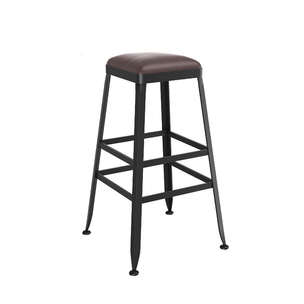B 6540cm XJRHB Bar Solid Wood Stool Iron High Stool redating Coffee Shop Counter High Back Wood Creative Front Kitchen Chair (color   A, Size   75  40cm)