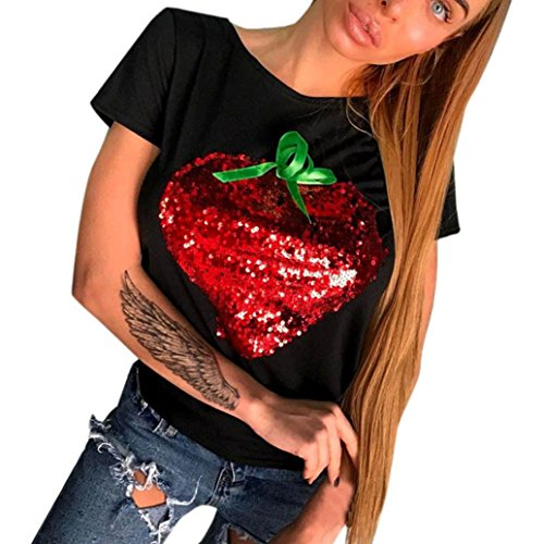 - Lywey Sequins Stylish O-Neck Blouse, Love Heart Paillette Summer Party, Daily, Beach, Short Sleeve Loose T Shirt (XL, Black)