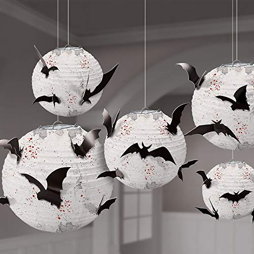 Amscan Dark Manor Bat Paper Lanterns, 5 Count, Include Blood Spatter White Lanterns with 24 Attachable Bat Cutouts -