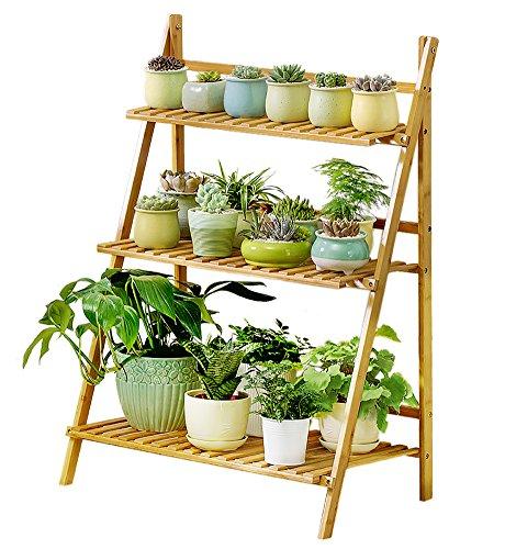 - Bamboo 3-Tier Plant Stand Planter Shelves Flower Pot Organizer Storage Rack Folding Display Shelving Plants Shelf Unit Holder