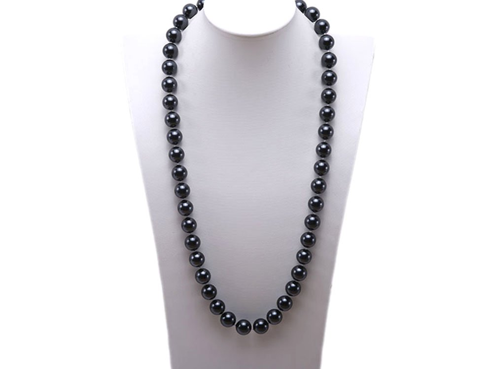 JYX 12mm Round Black Seashell Pearl Necklace 28''