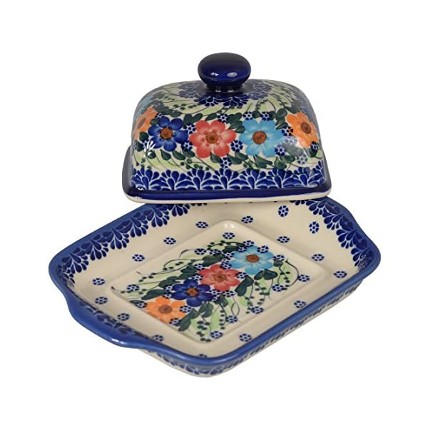 Traditional Polish Pottery, Handcrafted Ceramic Butter Dish with Lid, Boleslawiec Style Pattern, B.101