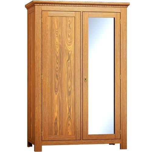 Schrank mit Spiegel - Echtholz 200x120x60 - Kleiderschrank massiv Holz Kiefer - Antik dunkel, rustikal dunkelbraun