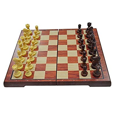 """16.3"""" Wood Grain Chess Set Magnetic Chess Pieces Bottom Folding Chess Board HIPS Plastic Portable & Durable"""