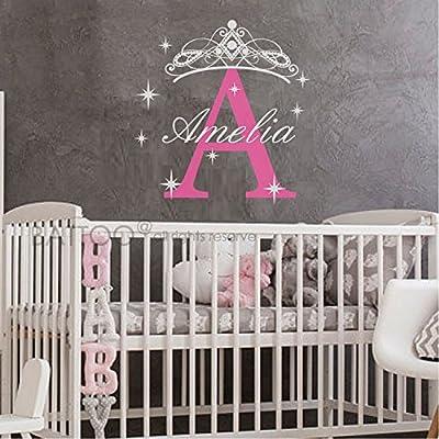 BATTOO Girls Name Wall Decal- Princess Wall Decal- Personalized Name Wall Decal Girls Room Bedroom Decor- Little Princess Tiara Crown Wall Decal