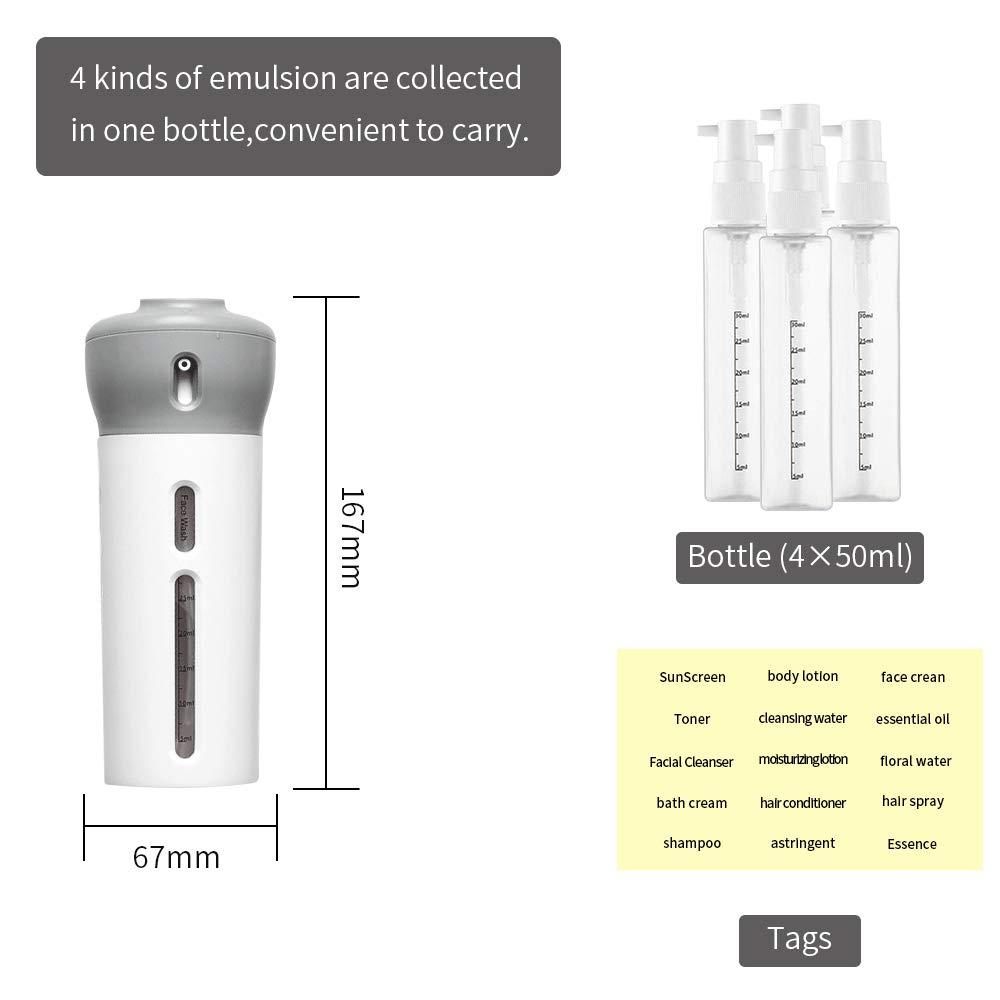 B/álsamo Crema de Ba/ño Loci/ón Juego de Botellas de Viaje 4 en 1 Set Botellas de Viaje Anti-Fugas Rellenable L/íquido dispensador para Champ/ú