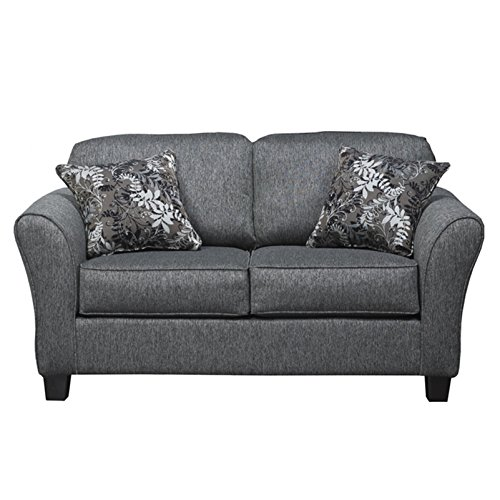 elmira pewter gray fabric upholstery wood frame sofa with loveseat and pillows - Wood Frame Loveseat