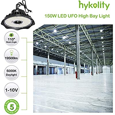 LED High Bay Light 150W 1-10V Dimmable 5000K 19,500lm UFO LED High Bay Light Fixture 5' Cable with US Plug [250W/400W MH/HPS Equiv.] Commercial Warehouse/Workshop/Wet Location Area Light