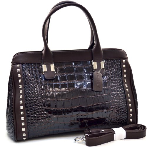 Dasein Pyramid Studded Patent Croco Satchel - Coffee (Brown Patent Leather Bag)