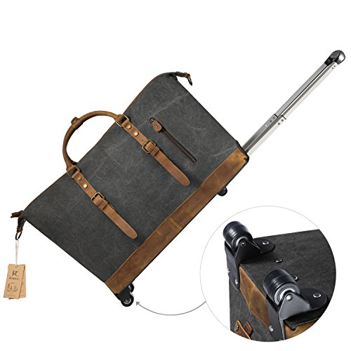 Kattee luggage rolling duffel bag leather trim canvas wheeled carry on travel 691039970930 ebay for Leather luggage wheeled duffel