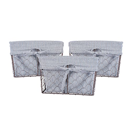 DII Home Traditions Vintage Metal Chicken Wire Storage Basket with Removable Fabric Liner, Set of 3 Small Sized, Ticking White and Black Denim Striped (Distressed White Basket)