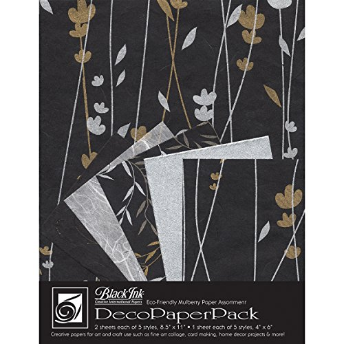 Black Ink Decorative Papers - Black Ink DP-701 Decorative Paper Pack, 8.5 by 11-Inch, Meadow Flowers Black